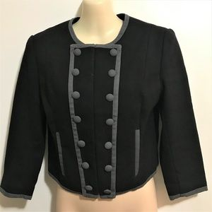H&M Military Crop Jacket Sz 6 Lined Black